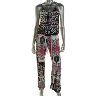 Felicite Womens Printed Drawstring Jumpsuit