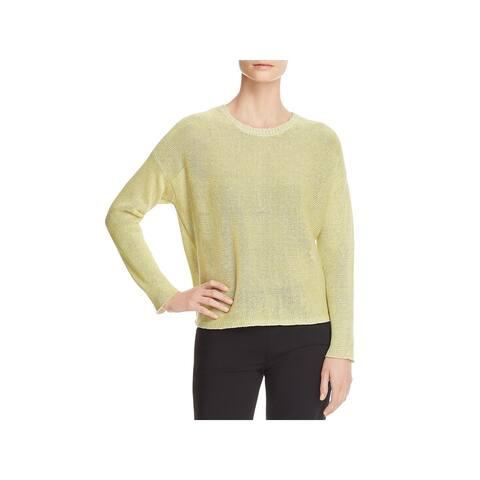 Eileen Fisher Womens Pullover Sweater Linen Long Sleeves