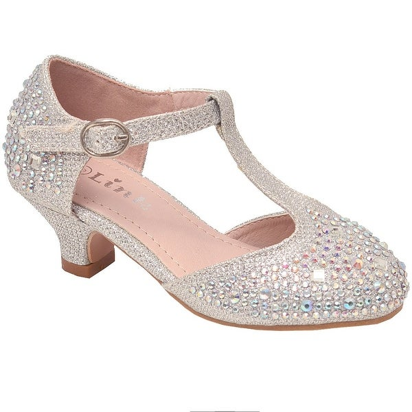 126eabb248 Girls Silver Glitter Rhinestone Encrusted T-Bar Heeled Shoes 11-4 Kids