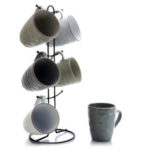 Elama Textured Wave 6-Piece 12 oz. Mug Set with Stand, Assorted Colors
