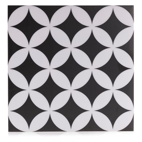 8x8 Bold Art Decor Black & White porcelain wall/floor tile (10.76 sq. ft./25 pc box)