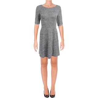 Connected Apparel Womens Petites Casual Dress Striped Elbow Sleeves