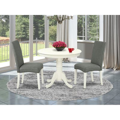 Round 36 Inch Table and Parson Chairs in Gray Linen Fabric Linen White Finish (Pieces Option)