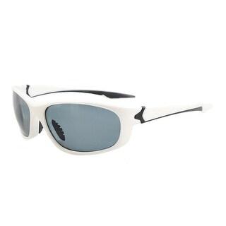 Eyekepper Polycarbonate Polarized Sport Sunglasses For Men Women Running Hiking TR90 Unbreakable White Frame Grey Lens