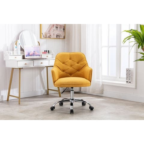 Linen Swivel Home Upholstered Adjustable Height Office Chair