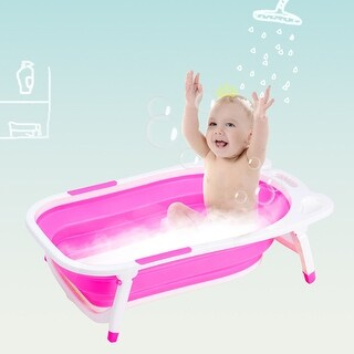 Gymax Pink Baby Folding Bathtub Infant Collapsible Portable Shower Basin w/ Block