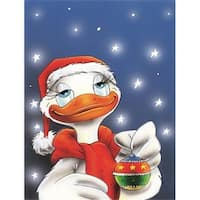Duck with Christmas Ornament Flag Canvas House Size