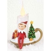 """6.75"""" Decorative Red, Green and White Elf on the Shelf Flameless LED Christmas Candle"""