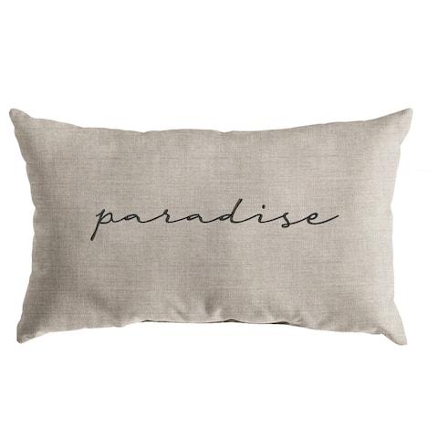 "Sunbrella Indoor/Outdoor Single Embroidered Pillow - ""Paradise"" - 13"" x 20"""
