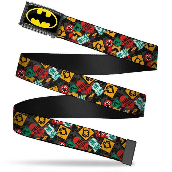Batman Fcg Black Yellow Chrome Batman Two Face Warning Signs Scattered Web Belt