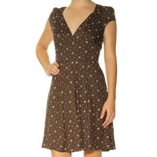 RALPH LAUREN D & S Womens Green Floral Cap Sleeve V Neck Above The Knee Fit + Flare Dress  Size: 2XS
