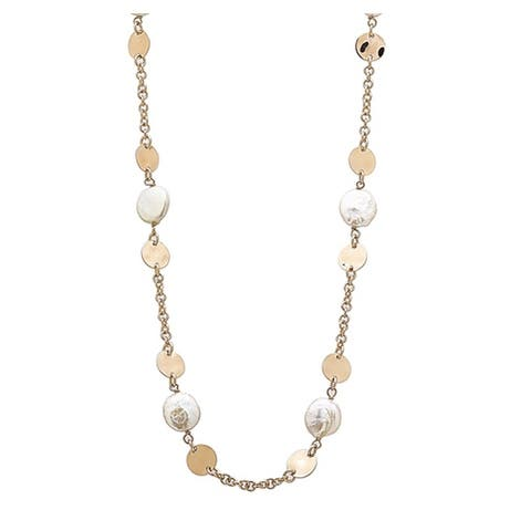 BRONZORO 18 k Gold Over bronze Stationed Coin Pearls & Discs Necklace