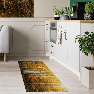 Designart 'Yellow Colorful Autumn Forest' Forest Area Rug