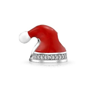 Bling Jewelry 925 Silver Crystal Red Santa Hat Christmas Bead Charm