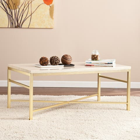 """Silver Orchid Grant Faux Stone Coffee Table - 42"""" x 18"""" - 42"""" x 18"""""""