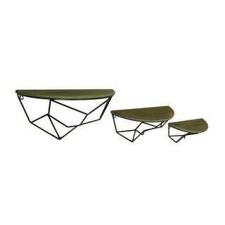 3 Piece Contemporary Polyline Design Wood & Metal Wall Shelf Set