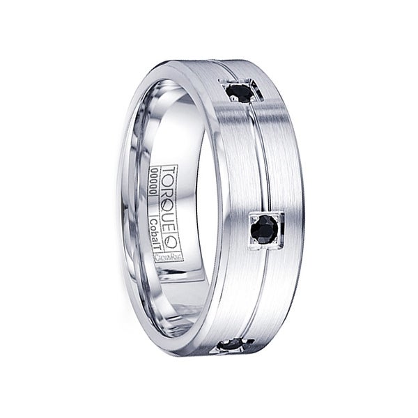 AKUMA Brushed Grooved Flat Cobalt Wedding Band with Six Round Cut Black Sapphires by Crown Ring - 7mm
