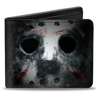 Jason Mask3 Close Up + Friday The 13Th Black Grays Red Bi Fold Wallet - One Size Fits most