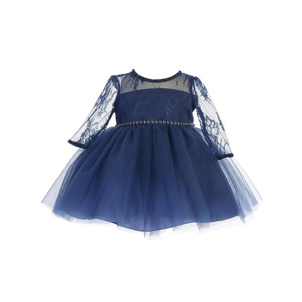 13293824bf245 Baby Girls Navy Three Quarter Lace Sleeve Tulle Flower Girl Dress
