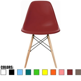 2xhome Red - Eames Style Molded Bedroom & Dining Room Side Ray Chair with Natural Wood Eiffel Legs Base