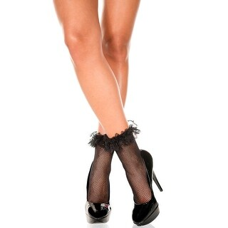 Fishnet Ankle Socks With Ruffle Trim, Fishnet Anklets