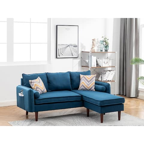 Mia Blue Linen Fabric Sectional Sofa with USB Charger