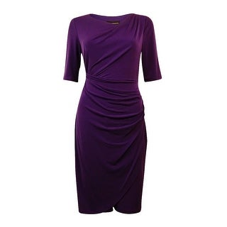 Connected Apparel NEW Purple Women's Size 14 Ruched Draped Sheath Dress