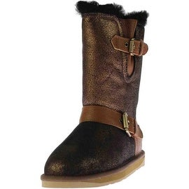 Australia Luxe Womens Machina Sheepskin Crackled Mid-Calf Boots