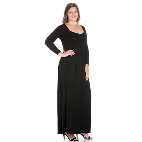 24seven Comfort Apparel Empire Waist Long Sleeve Plus Size Maxi Dress