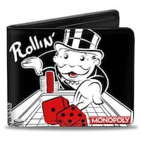 Mr. Monopoly Rolling Dice Pose Rollin' Black White Red Bi Fold Wallet - One Size Fits most