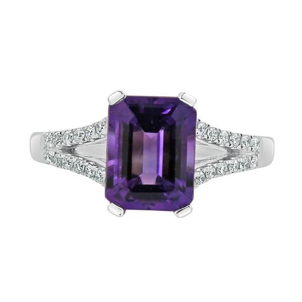 3Ct Emerald Cut Amethyst Diamond DoubleHalo Engagement Ring 14K Rose Gold Finish