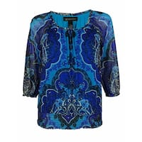INC International Concepts Women's Smocked Peasant Top - Lilypad Paisley - PS