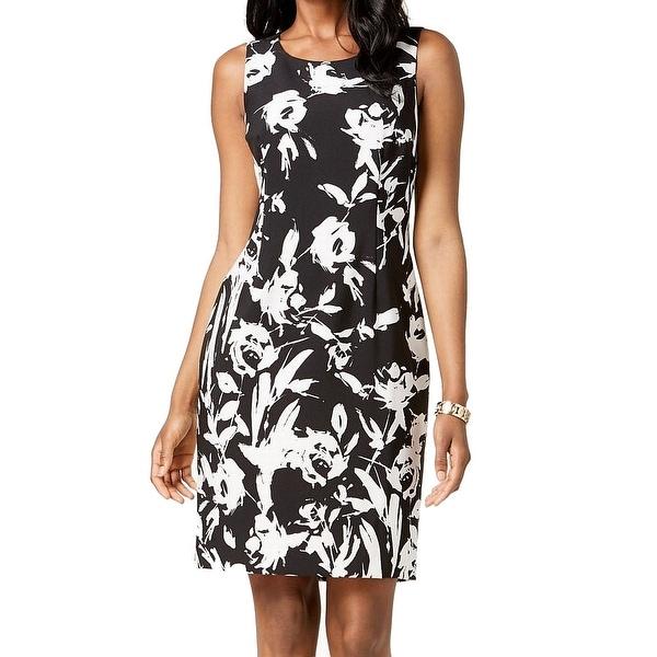 Kasper Black Women's Size 4 Floral Print Two-Tone Sheath Dress