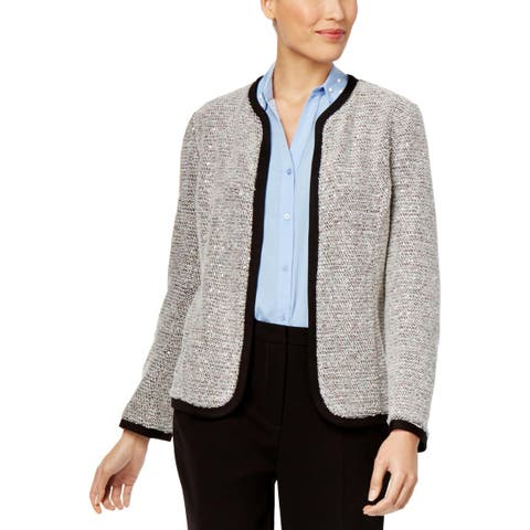 NY Collection Womens Open-Front Blazer Sequined Boucle