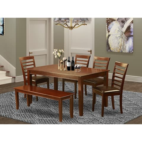 6 Pc Dining set- Dining Table with 4 Chairs plus Bench (Finish Option)