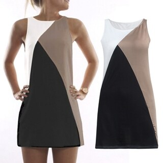Summer Women's Color Blocking A Line Mini Dress In 3 Colors