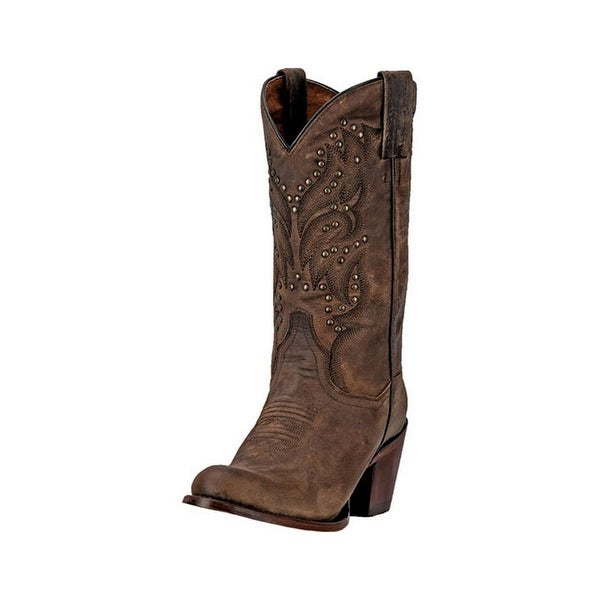 "Dan Post Western Boots Womens 11"" Bay Apache Round Toe Brown"