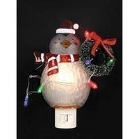 "6.25"" LED Lighted Festive Wintry Penguin with Wreath Christmas Night Light"