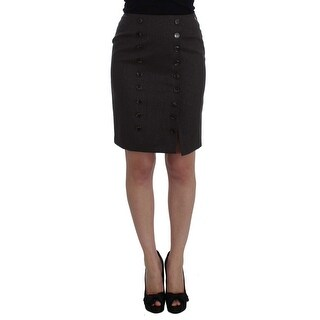 Galliano Brown Wool Stretch Pencil Skirt - it40-s