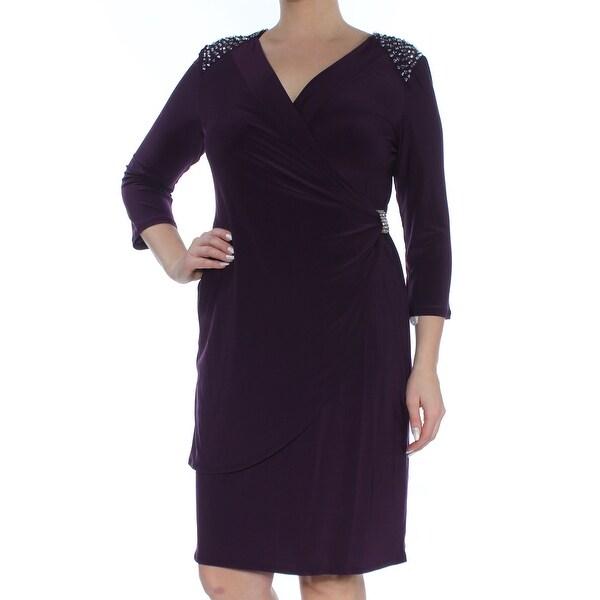 R&M RICHARDS Womens Purple Embellished Gathered Long Sleeve V Neck Above The Knee Sheath Dress Size: 12