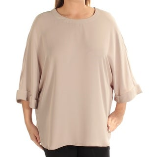 Womens Beige Dolman Sleeve Jewel Neck Top Size 12