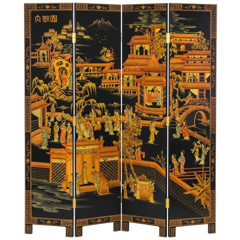 6 ft. Tall Black Lacquer Room Divider - Courtyard