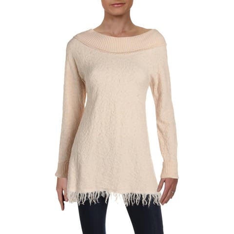 Free People Womens Broken Glass Pullover Sweater Tunic Crew Neck