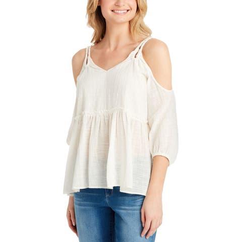 Jessica Simpson Women's Blouse White XL Cold-Shoulder Braided Straps