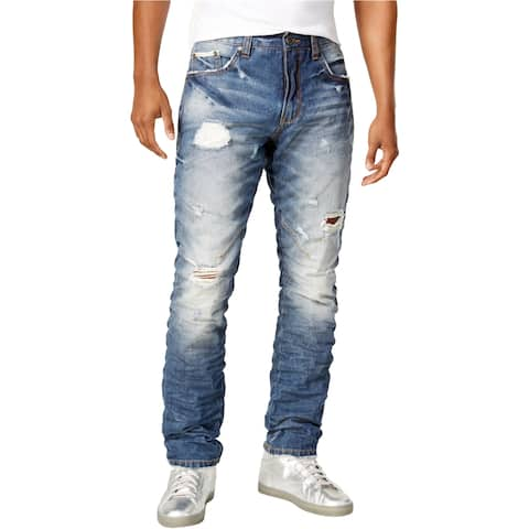 Heritage Mens Indigo Ripped Relaxed Jeans