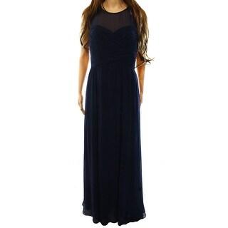 Lauren Ralph Lauren NEW Blue Pleated Womens 16 Empire Waist Gown Dress