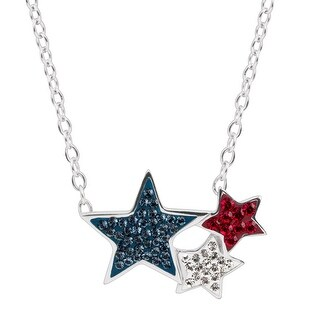 Crystaluxe Red, White, & Blue Triple-Star Necklace with Swarovski Crystals in Sterling Silver