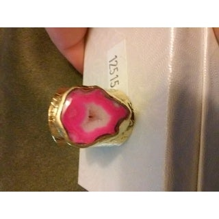 American Coin Treasures Goldfill Pink Agate Cigar Ring
