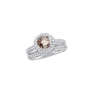 14k White Gold Cognac-brown Round Diamond Solitaire Bridal Wedding Engagement Size 5 Set 1 & 1/5 Ctw - Brown