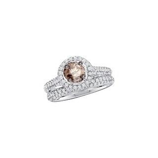 14k White Gold Cognac-brown Round Diamond Solitaire Bridal Wedding Engagement Size 8 Set 1 & 1/5 Ctw - Brown